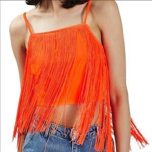 NWT Topshop Neon Orange Fringe Crop Top Size 12